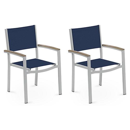 Blue Travira Armchairs w/Tekwood, S/4
