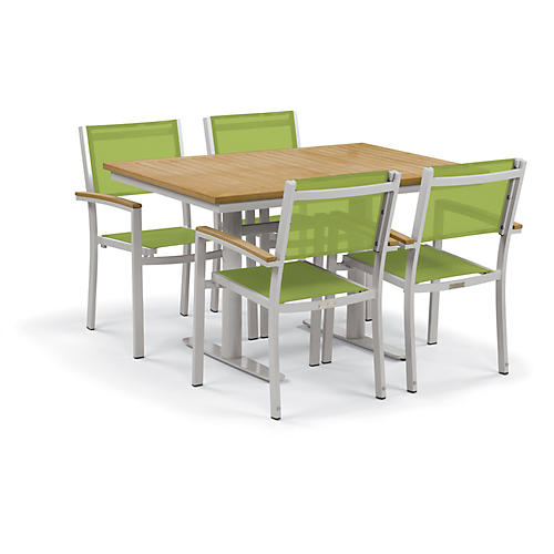 Travira 5 Pc Dining Set, Green