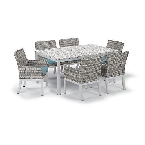 Travira 7-Pc Dining Set, Ice Blue