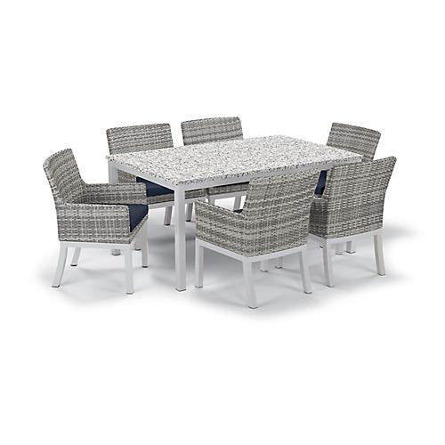 Travira 7-Pc Dining Set, Midnight Blue