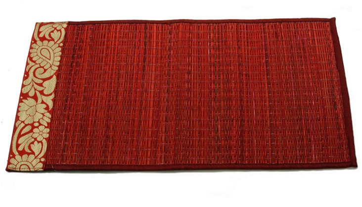 S/6 River Grass Place Mats, Red/Gold