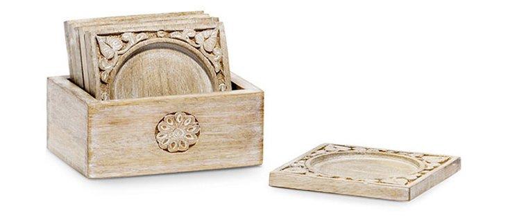 S/6 Mango Wood Coasters w/ Holder