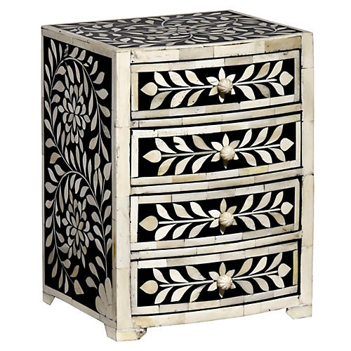 """10"""" Imperial Beauty Jewelry Box, Black/White"""