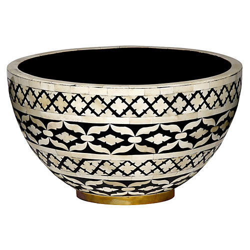 "14"" Imperial Beauty Bowl, Black/White"