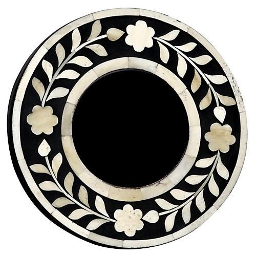 4x4 Imperial Beauty Round Frame, Bone/Black