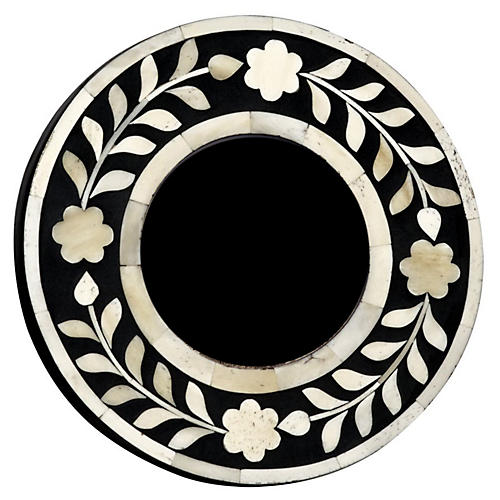 4x4 Imperial Beauty Round Frame, Bone/Black