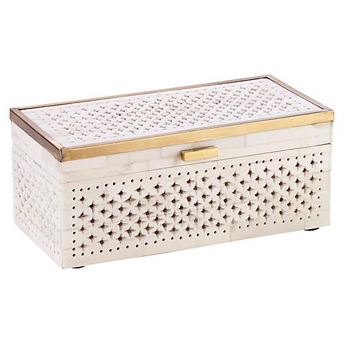 "10"" Chantilly Box, Ivory/Gold"