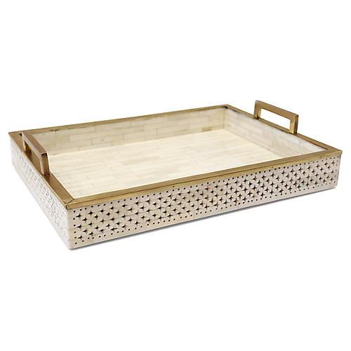 Chantilly Decorative Tray, Ivory/Gold