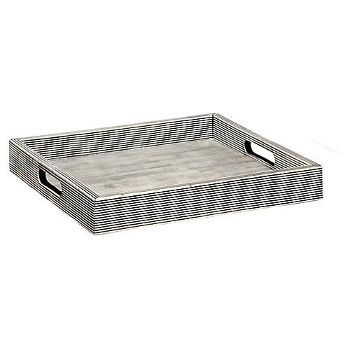 Pinstripe Decorative Tray, Black/White