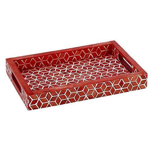 "18"" Starshine Decorative Tray, Marsala Red"