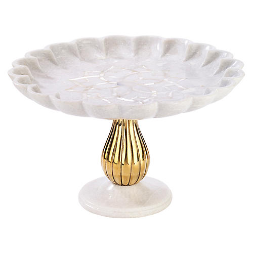 Noor Cake Stand, White/Gold