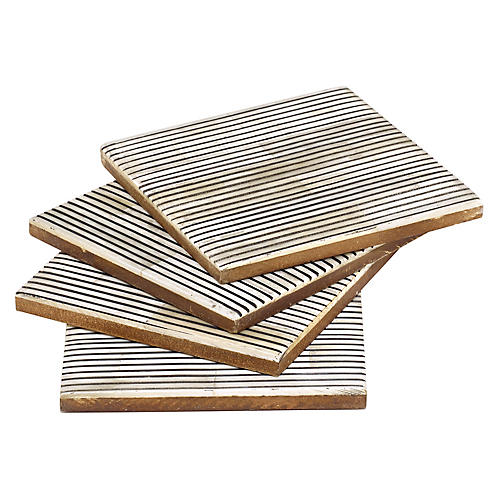S/4 Pinstripe Coasters, Black/White