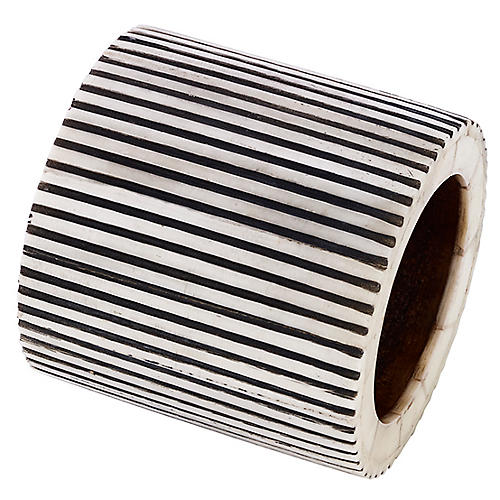 Pinstripe Napkin Ring, Black/White