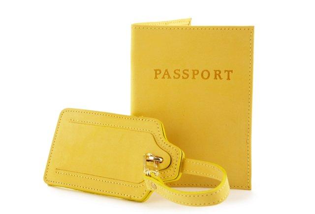 Luggage Tag/Passport Case, Lemon