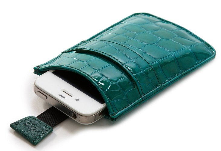 Iphone Sleeve, Teal Croc
