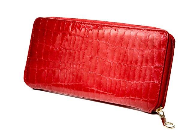 Embossed Zip Wallet, Red