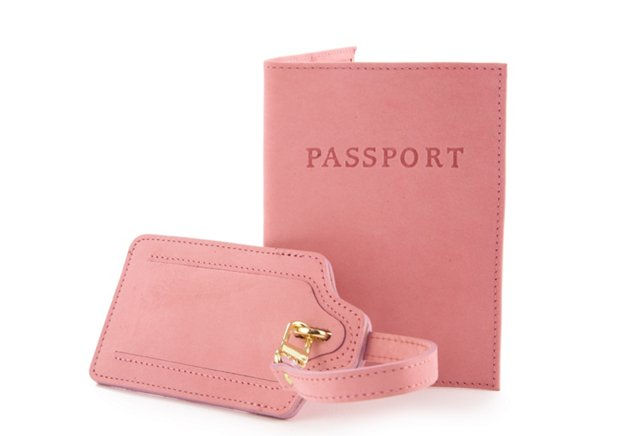 Leather Passport/Luggage Tag, Rose