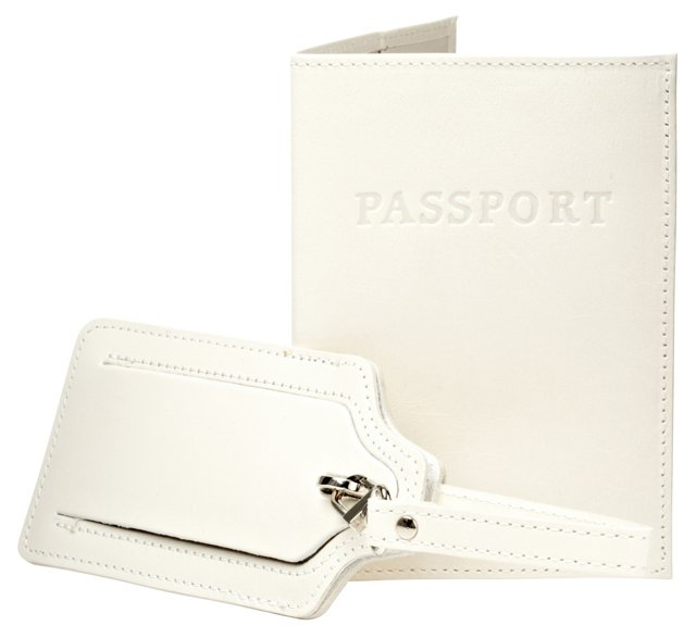 Leather Passport/Luggage Tag, White