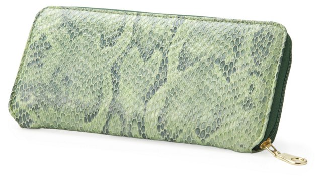 Embossed Zip Wallet, Green