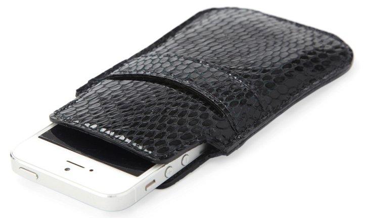 Embossed Leather iPhone 5 Sleeve, Black