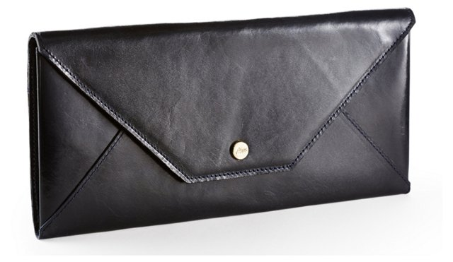 Leather Travel Envelope, Black