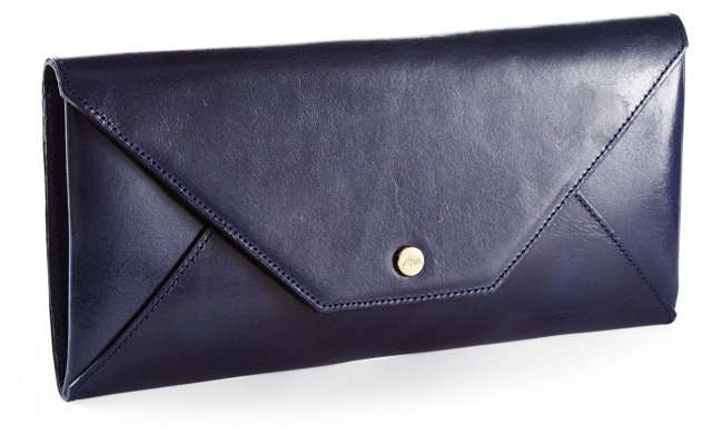 Leather Travel Envelope, Navy