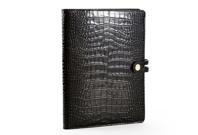 Croc Embossed iPad Case w/ Easel, Black