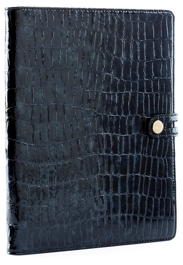 Croc Embossed iPad Case, Black