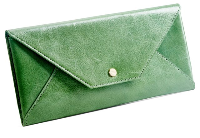 Cowhide Travel Envelope, Green