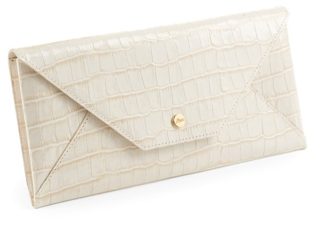 Embossed Croc Travel Envelope, Cream