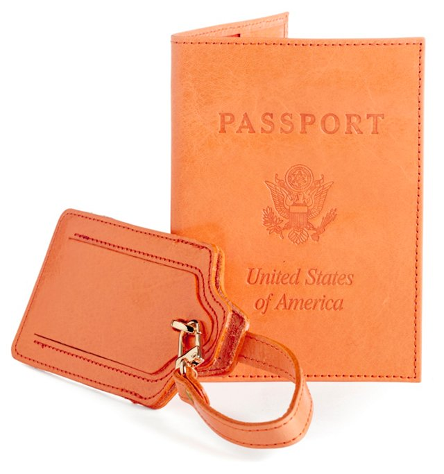 Leather Passport/Luggage Tag, Sherbet