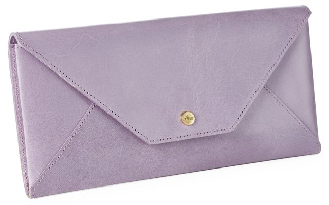 Leather Travel Envelope, Lilac