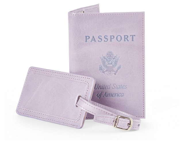Leather Passport/Luggage Tag, Lilac