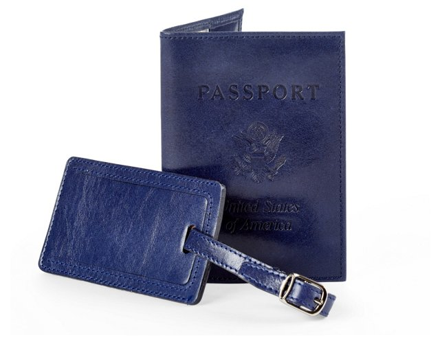 Leather Passport/Luggage Tag, Navy