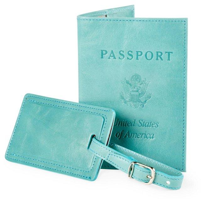 Leather Passport/Luggage Tag, Aqua