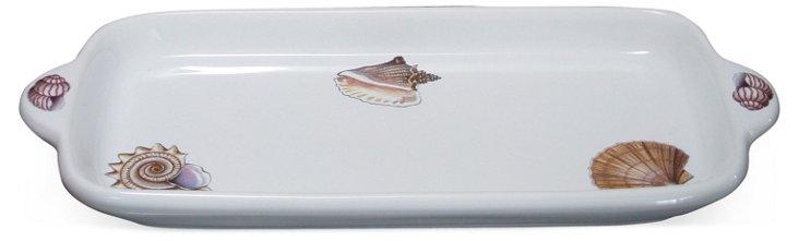 Ceramic Capri Seashell Rectangular Tray