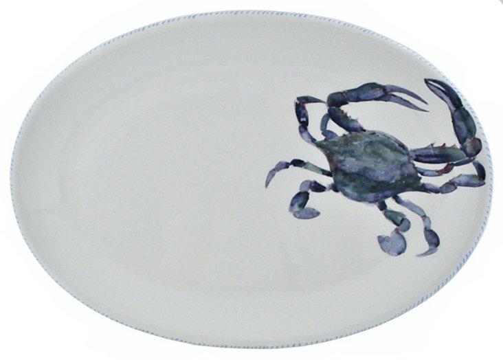 "Blue Crab Oval Platter, 15"""