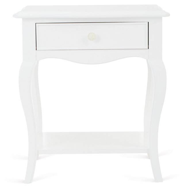 Abby 1-Drawer Night Table, White