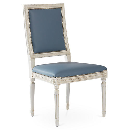 Exeter Side Chair, French Blue Leather