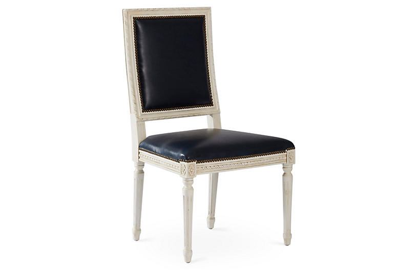 Exeter Side Chair, Navy Leather