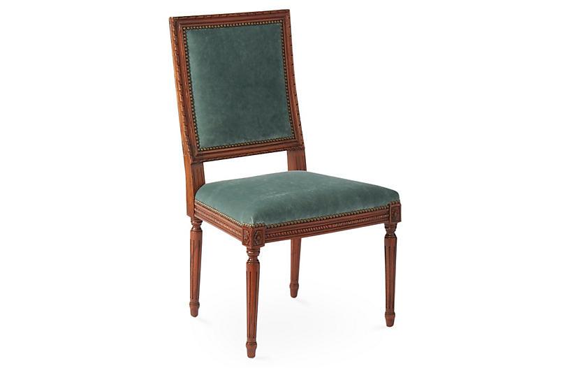 Exeter Side Chair, Jade Velvet