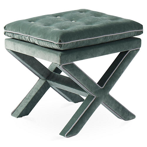 Dalton Pillow-Top Ottoman, Jade/Opal