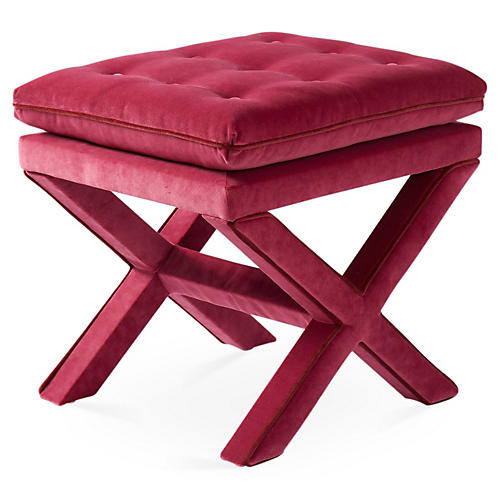 Dalton Pillow-Top Ottoman, Berry/Currant