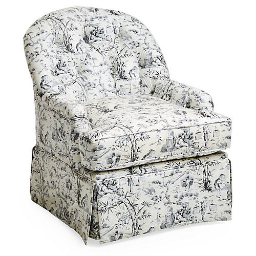 Marlowe Swivel Club Chair, Black Toile