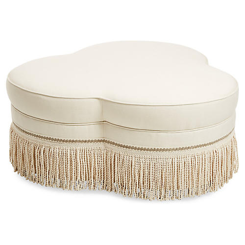 Portsmouth Cocktail Ottoman, Cream Linen