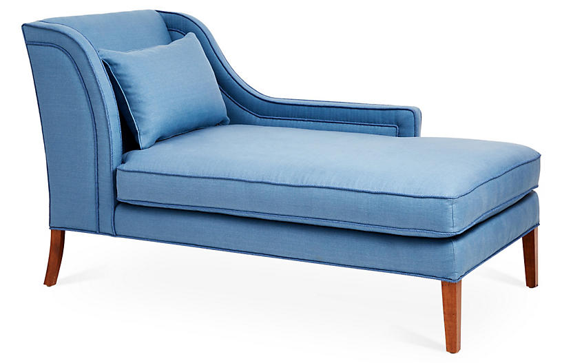 Roslin Right-Facing Chaise, Chambray Linen