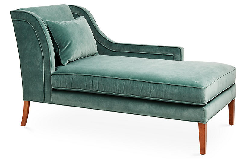 Roslin Right-Facing Chaise, Jade Velvet