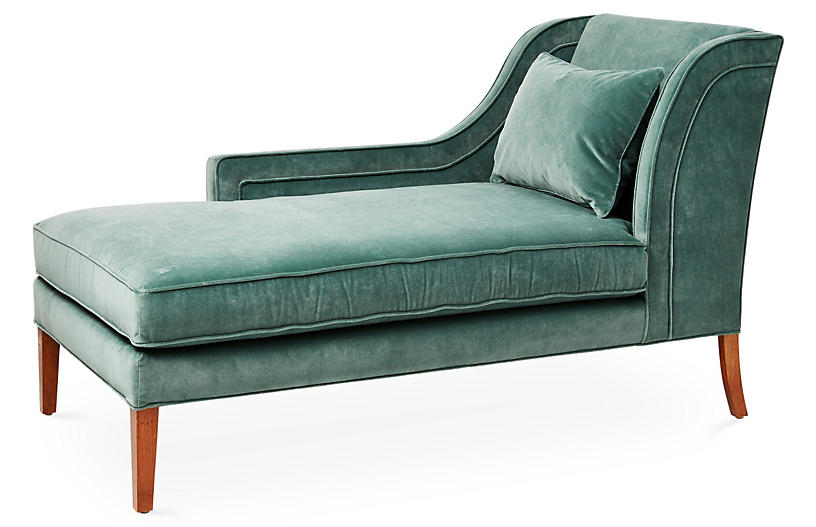 Roslin Left-Facing Chaise, Jade Velvet