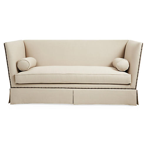 Carlisle Skirted Sofa, Dune Linen