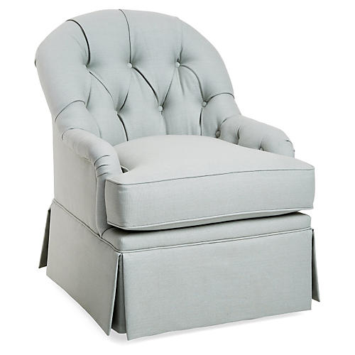 Marlowe Swivel Club Chair, Sea Linen